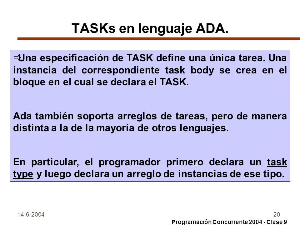 TASKs en lenguaje ADA.