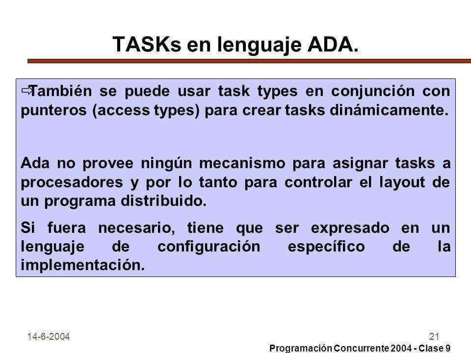 TASKs en lenguaje ADA. También se puede usar task types en conjunción con punteros (access types) para crear tasks dinámicamente.