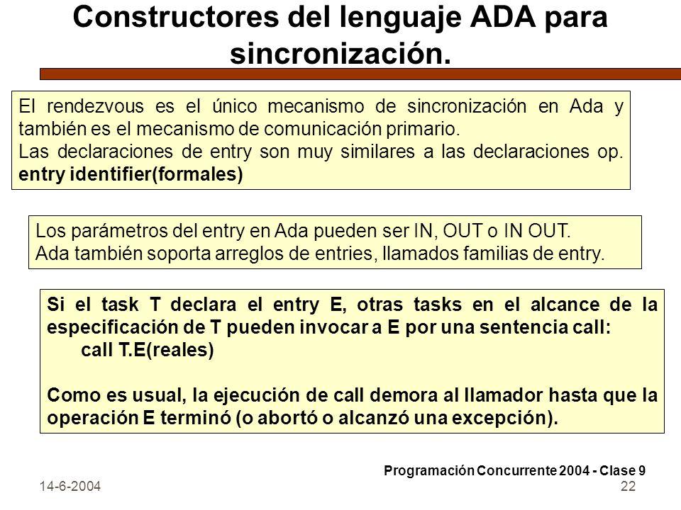 Constructores del lenguaje ADA para sincronización.