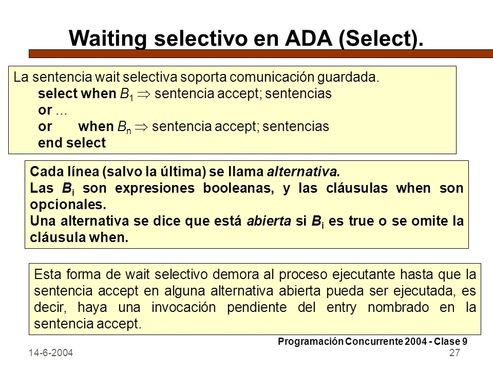 Waiting selectivo en ADA (Select).