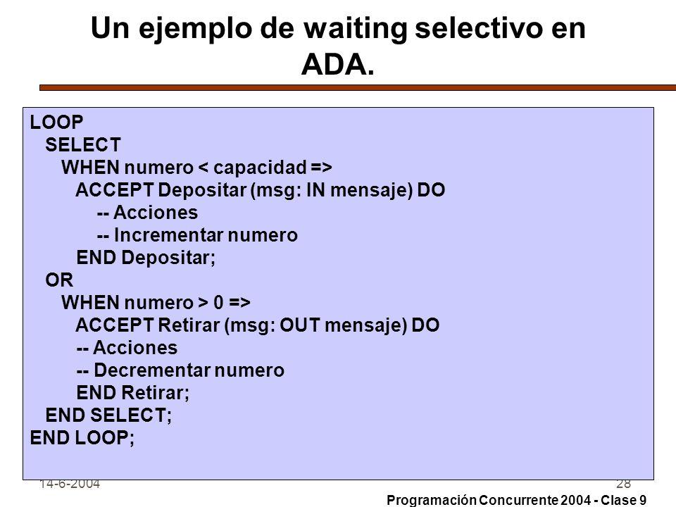 Un ejemplo de waiting selectivo en ADA.