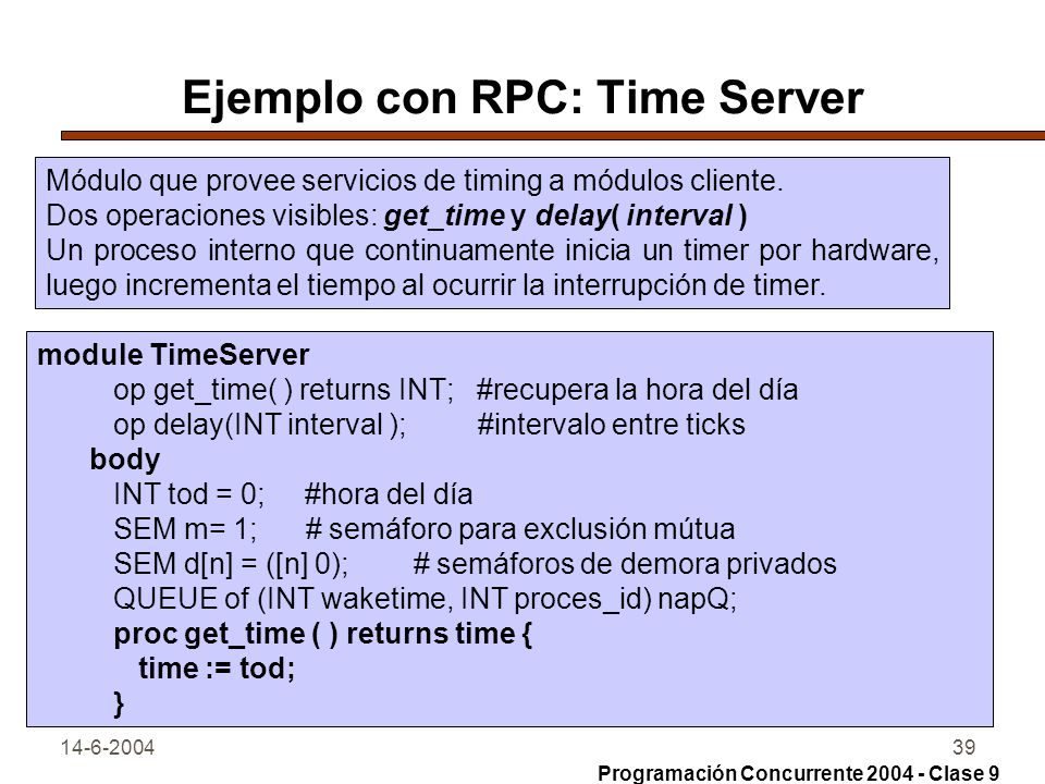 Ejemplo con RPC: Time Server