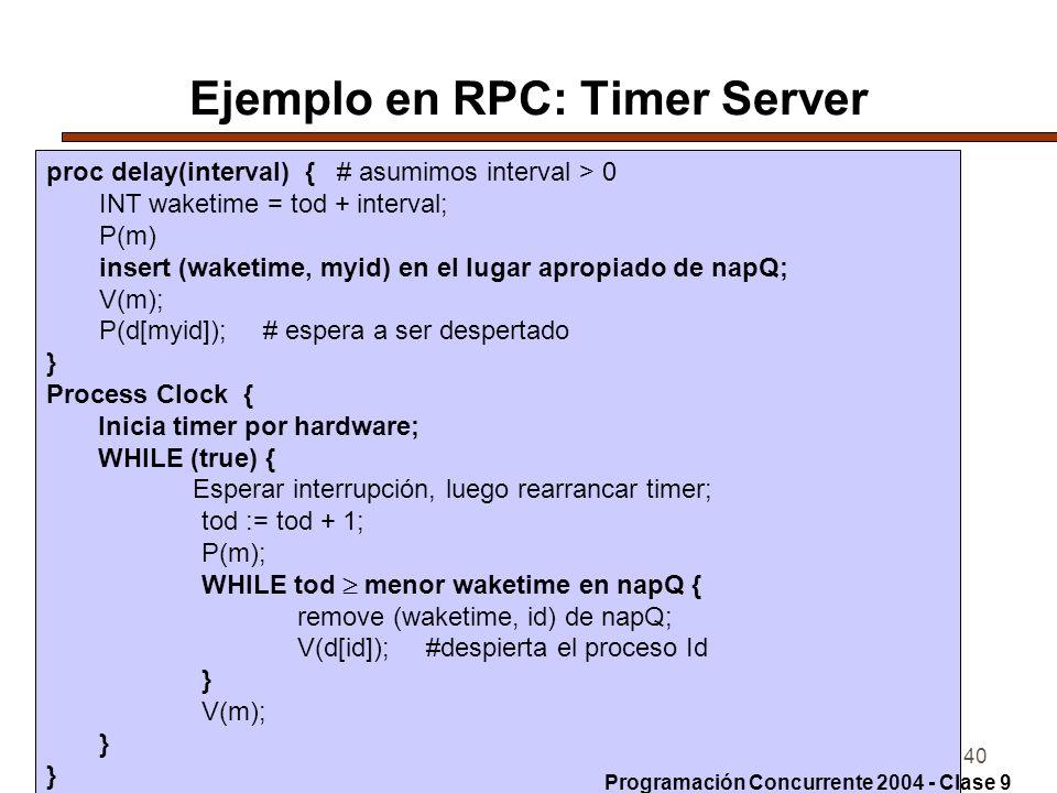 Ejemplo en RPC: Timer Server