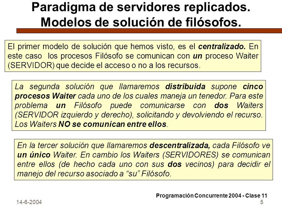 Paradigma de servidores replicados. Modelos de solución de filósofos.