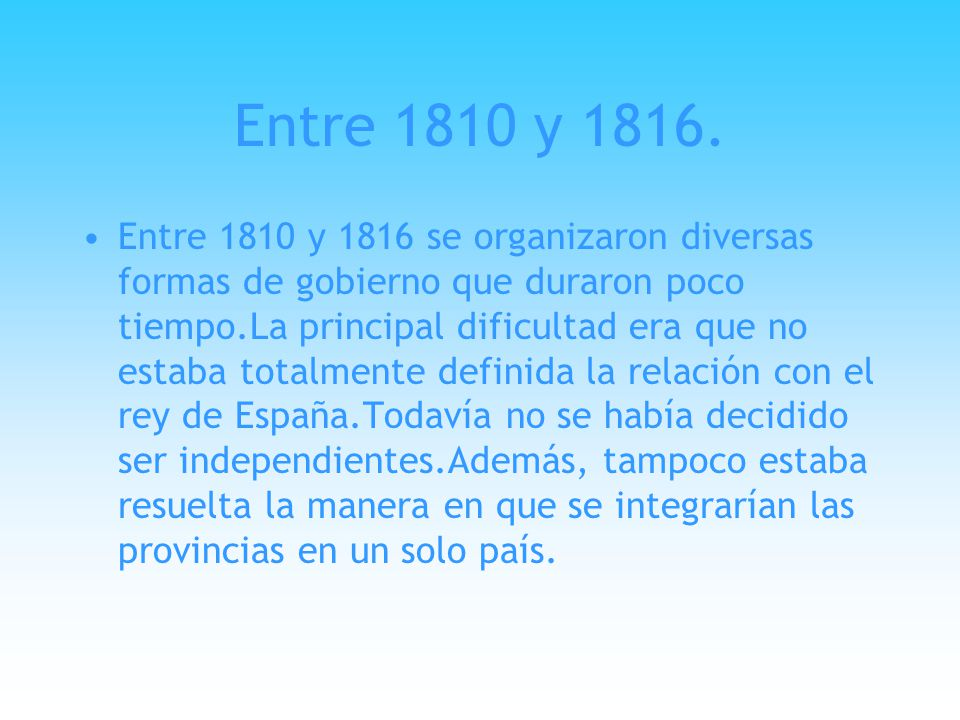 Entre 1810 y 1816.