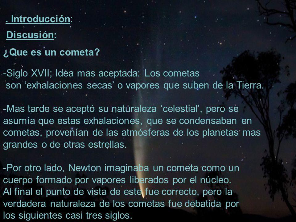 . Introducción: Discusión: ¿Que es un cometa -Siglo XVII; Idea mas aceptada: Los cometas.