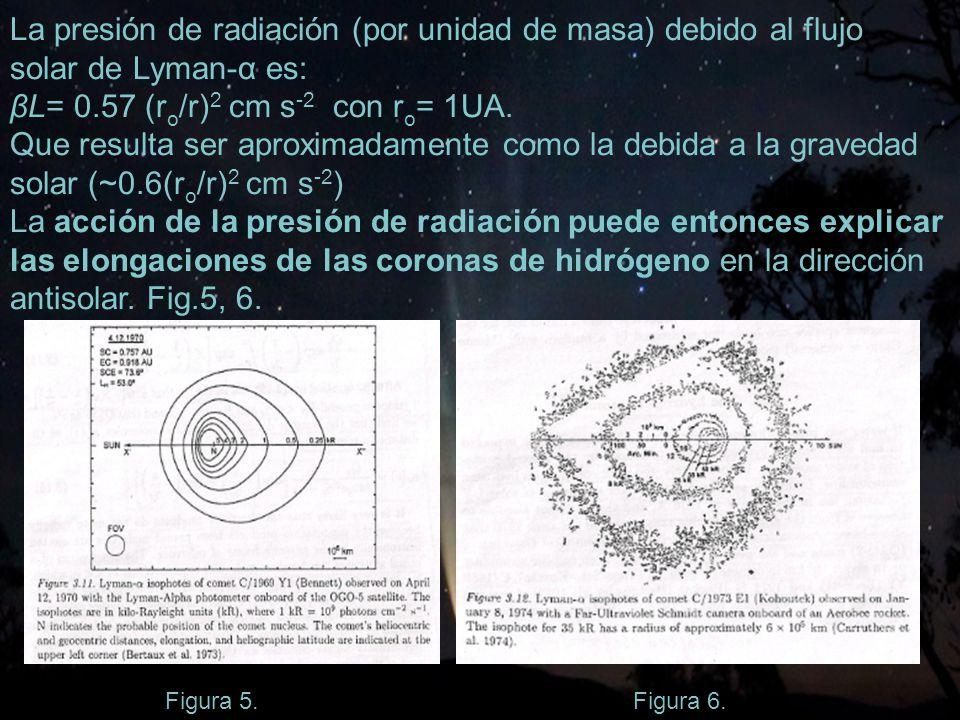 La presión de radiación (por unidad de masa) debido al flujo