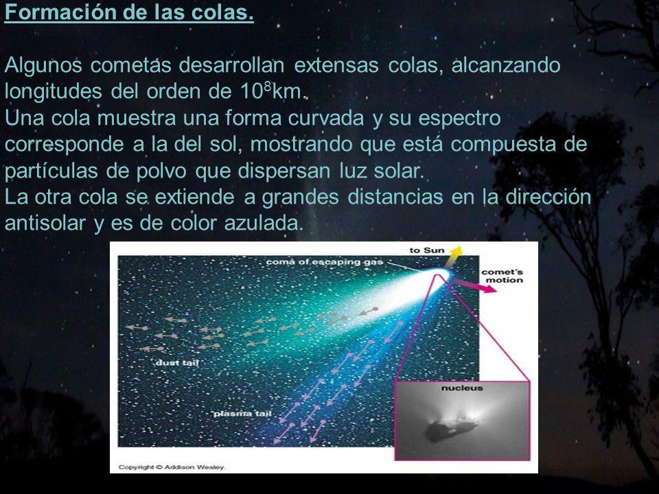 Formación de las colas. Algunos cometas desarrollan extensas colas, alcanzando. longitudes del orden de 108km.
