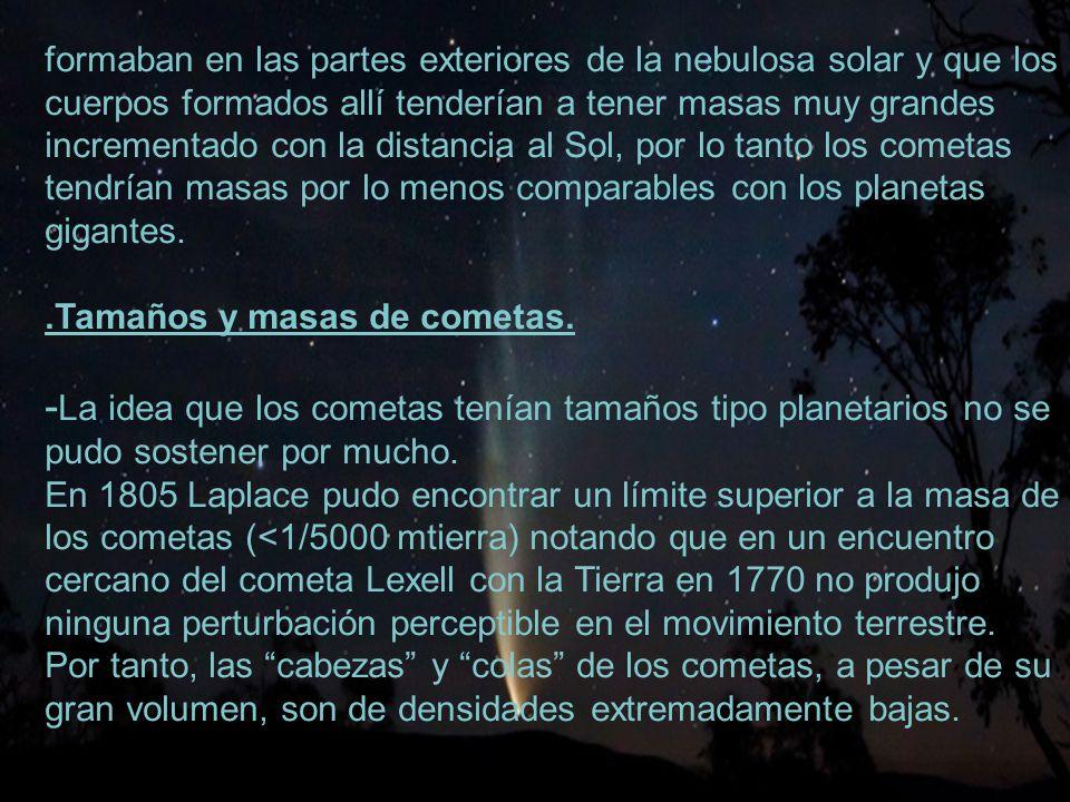 -La idea que los cometas tenían tamaños tipo planetarios no se