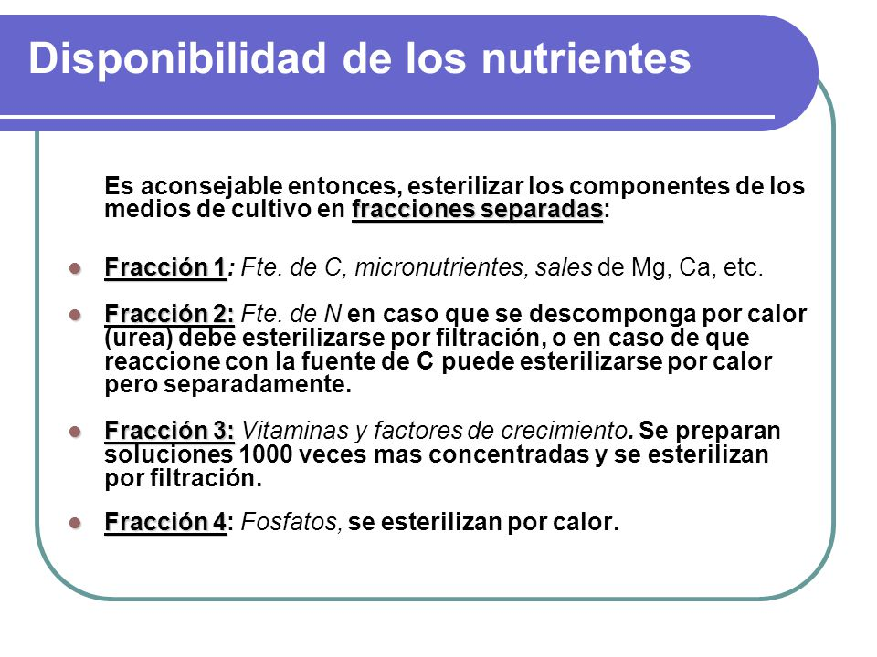 Disponibilidad de los nutrientes
