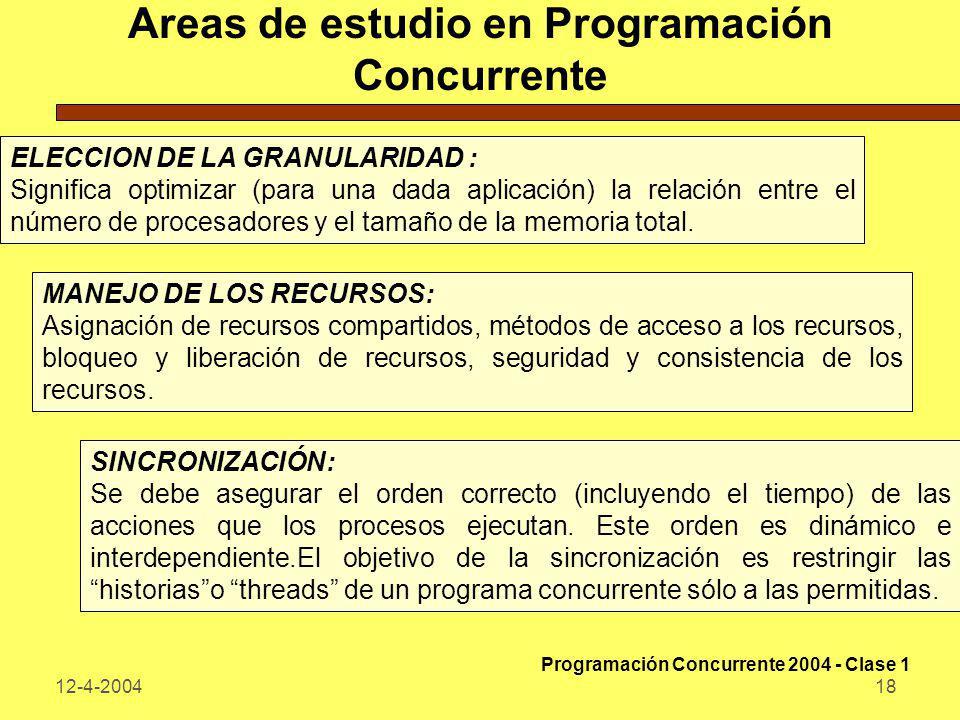 Areas de estudio en Programación Concurrente