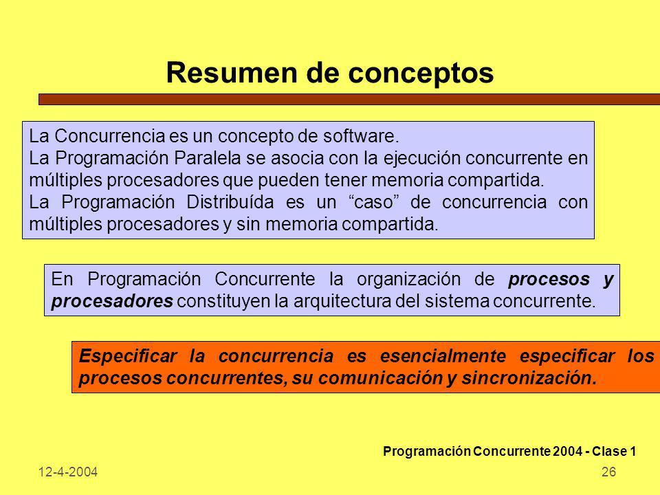 Resumen de conceptos La Concurrencia es un concepto de software.
