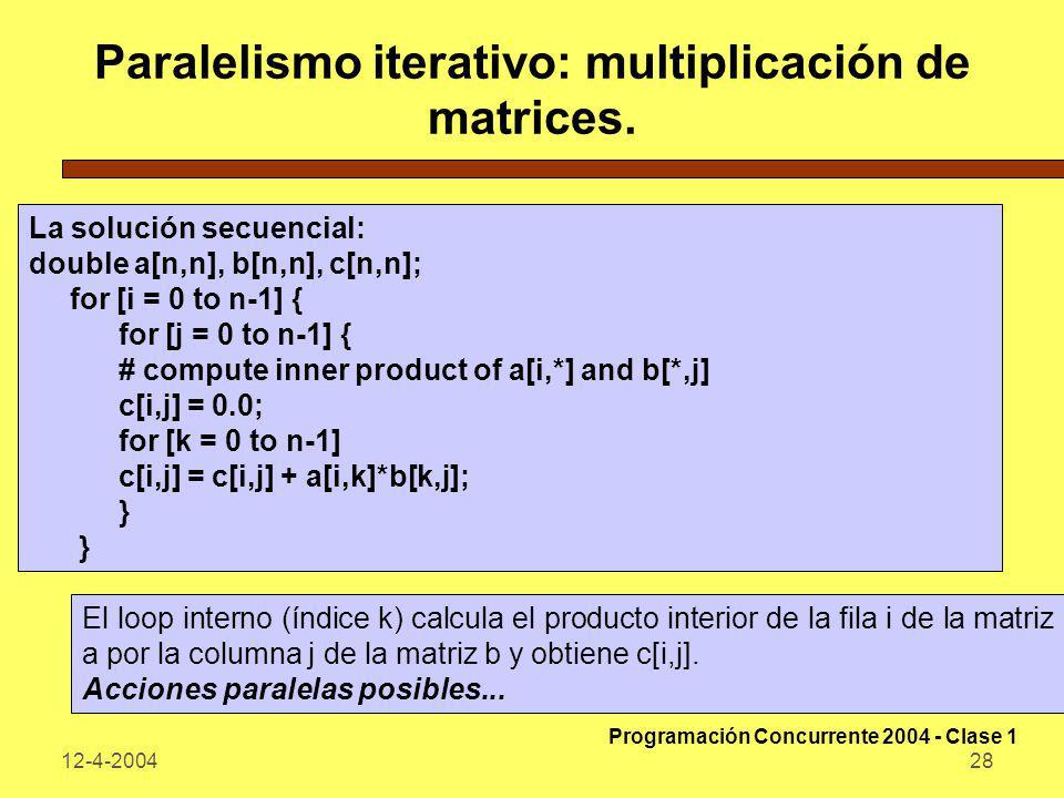 Paralelismo iterativo: multiplicación de matrices.