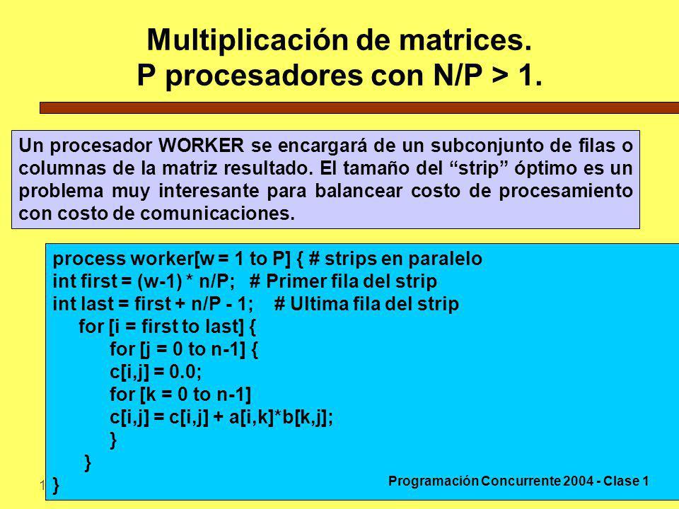 Multiplicación de matrices. P procesadores con N/P > 1.