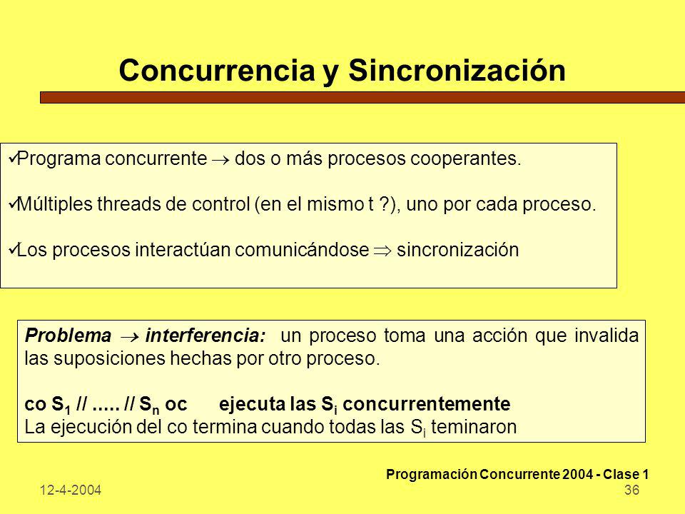 Concurrencia y Sincronización