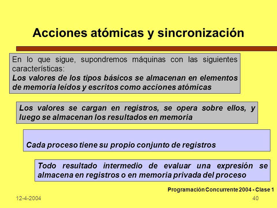 Acciones atómicas y sincronización