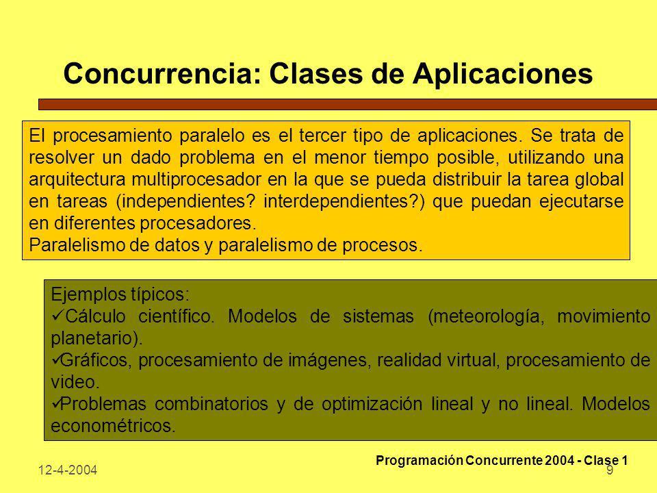 Concurrencia: Clases de Aplicaciones