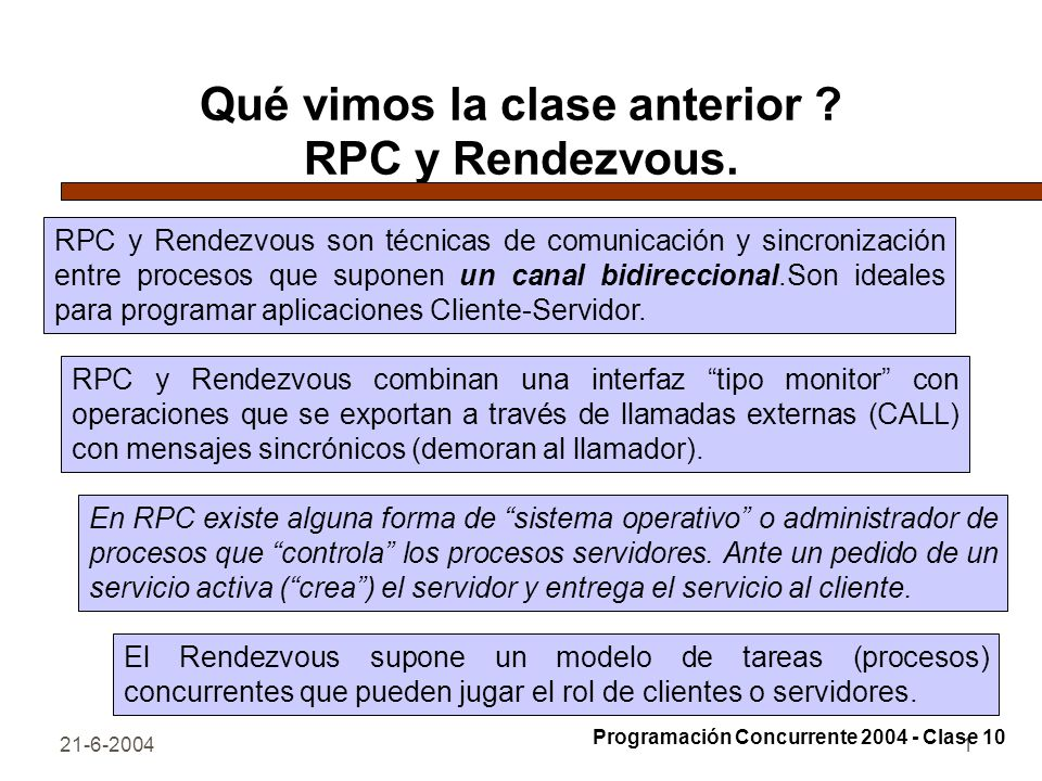 Qué vimos la clase anterior RPC y Rendezvous.