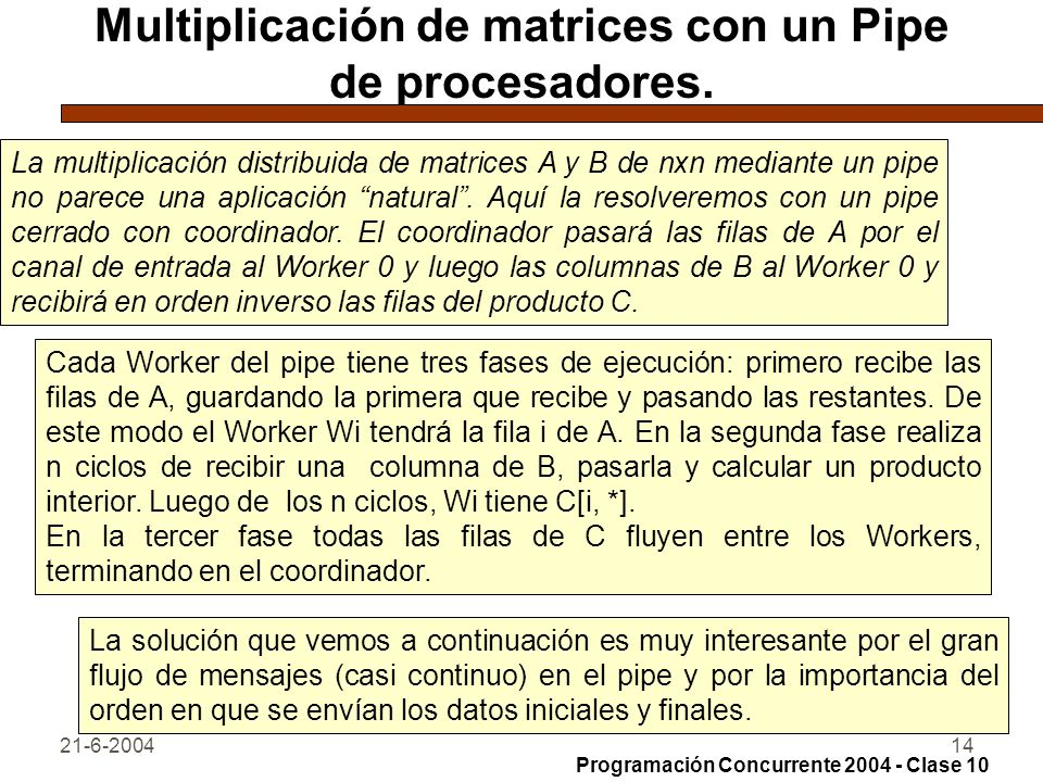 Multiplicación de matrices con un Pipe de procesadores.