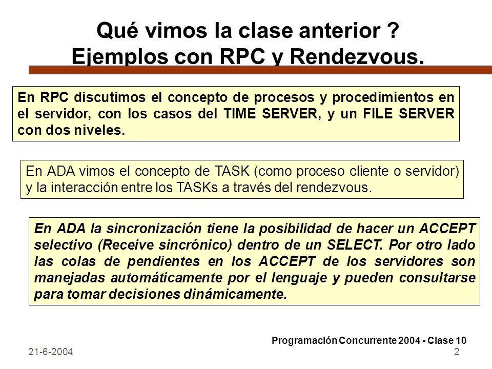 Qué vimos la clase anterior Ejemplos con RPC y Rendezvous.