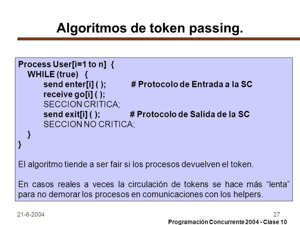 Algoritmos de token passing.