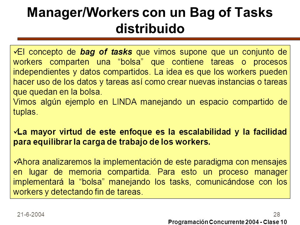 Manager/Workers con un Bag of Tasks distribuido