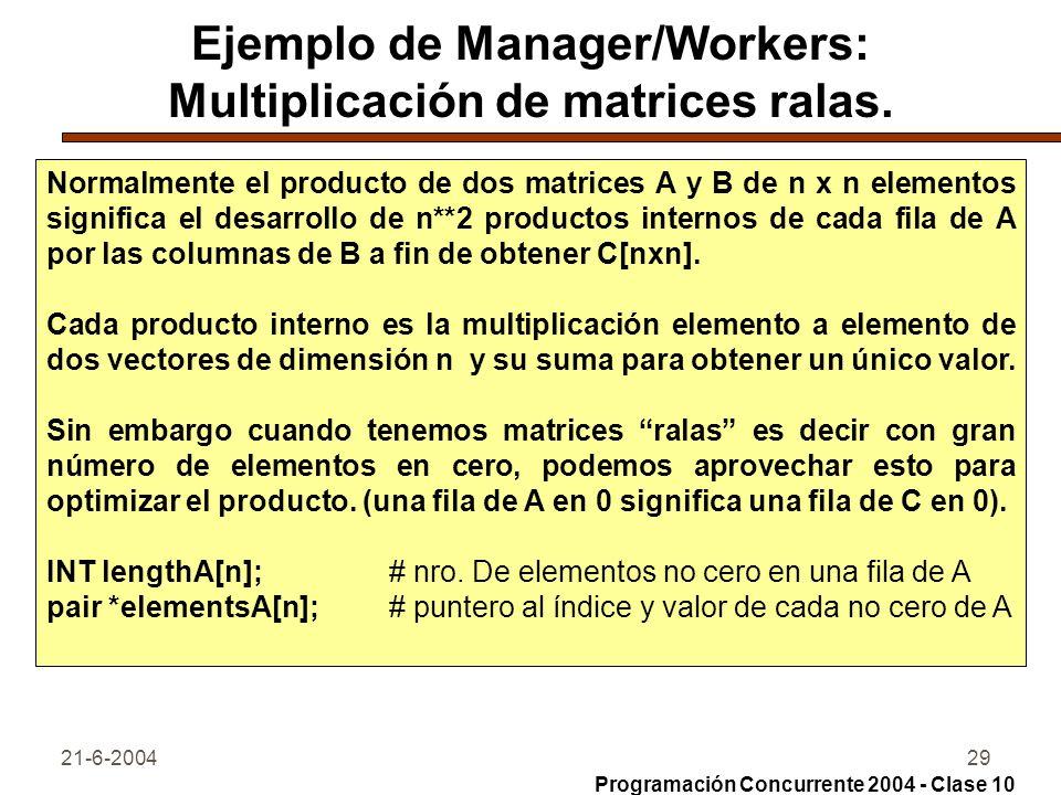 Ejemplo de Manager/Workers: Multiplicación de matrices ralas.
