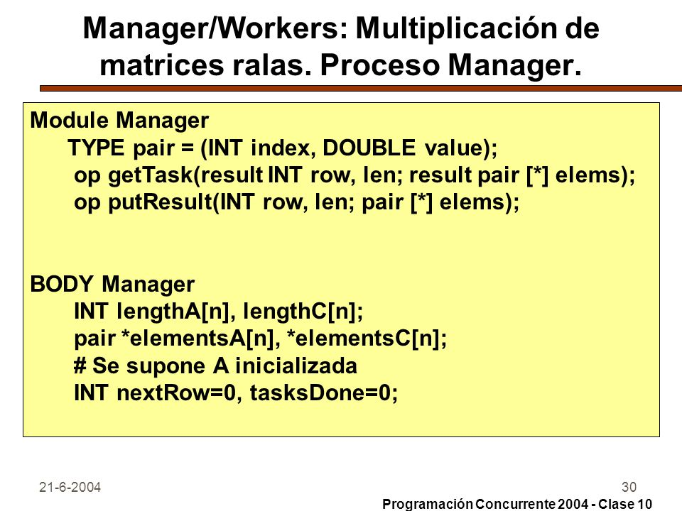 Manager/Workers: Multiplicación de matrices ralas. Proceso Manager.