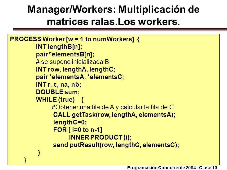 Manager/Workers: Multiplicación de matrices ralas.Los workers.
