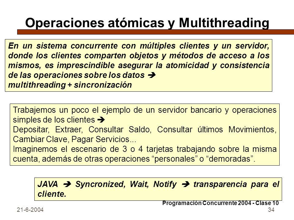 Operaciones atómicas y Multithreading