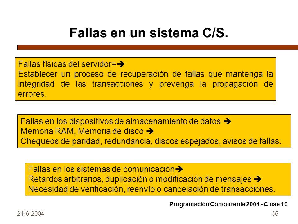 Fallas en un sistema C/S.