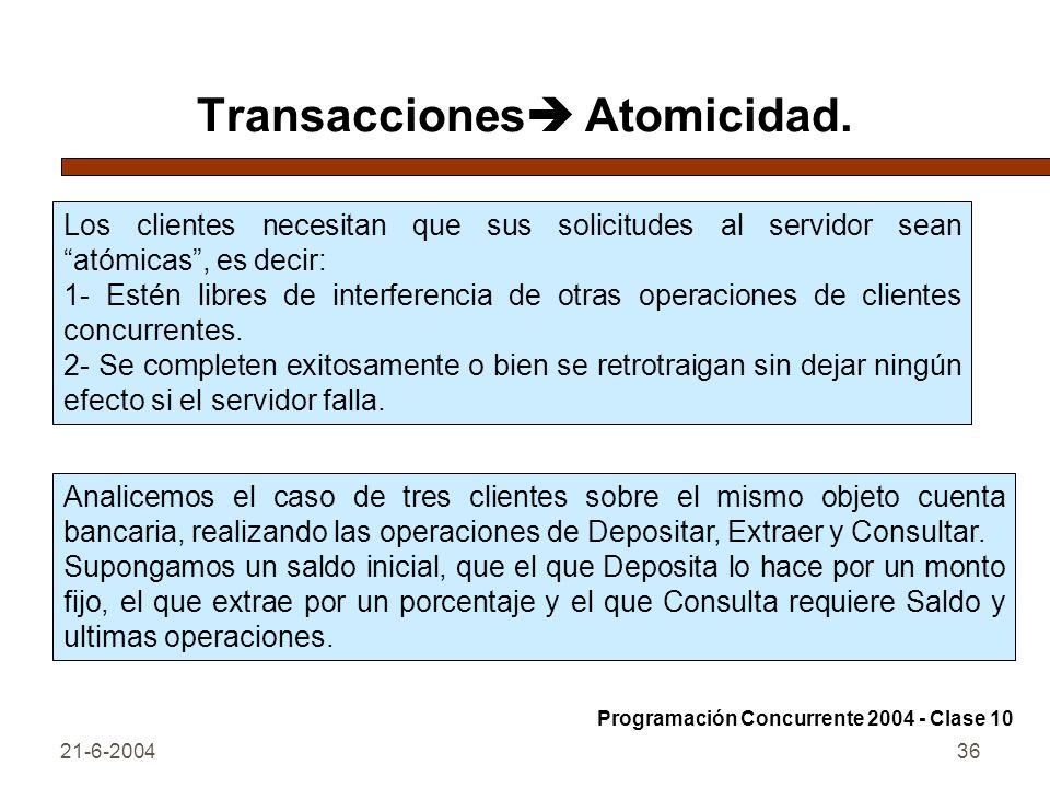 Transacciones Atomicidad.
