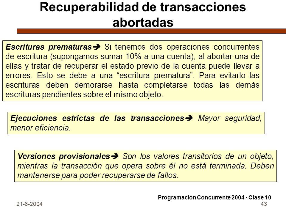 Recuperabilidad de transacciones abortadas