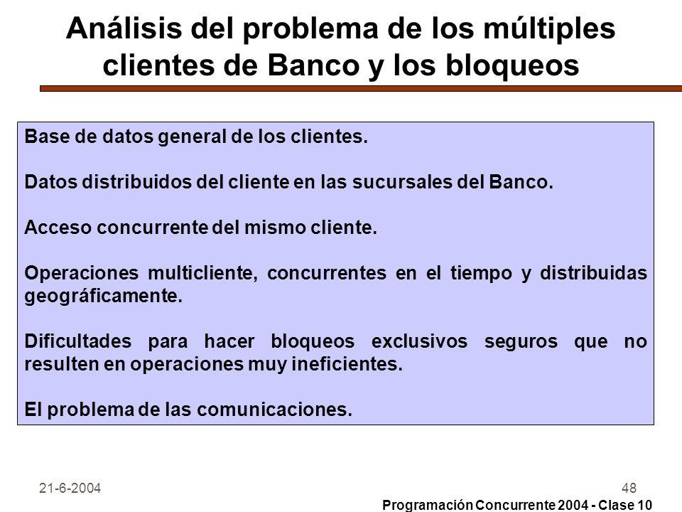 Análisis del problema de los múltiples clientes de Banco y los bloqueos