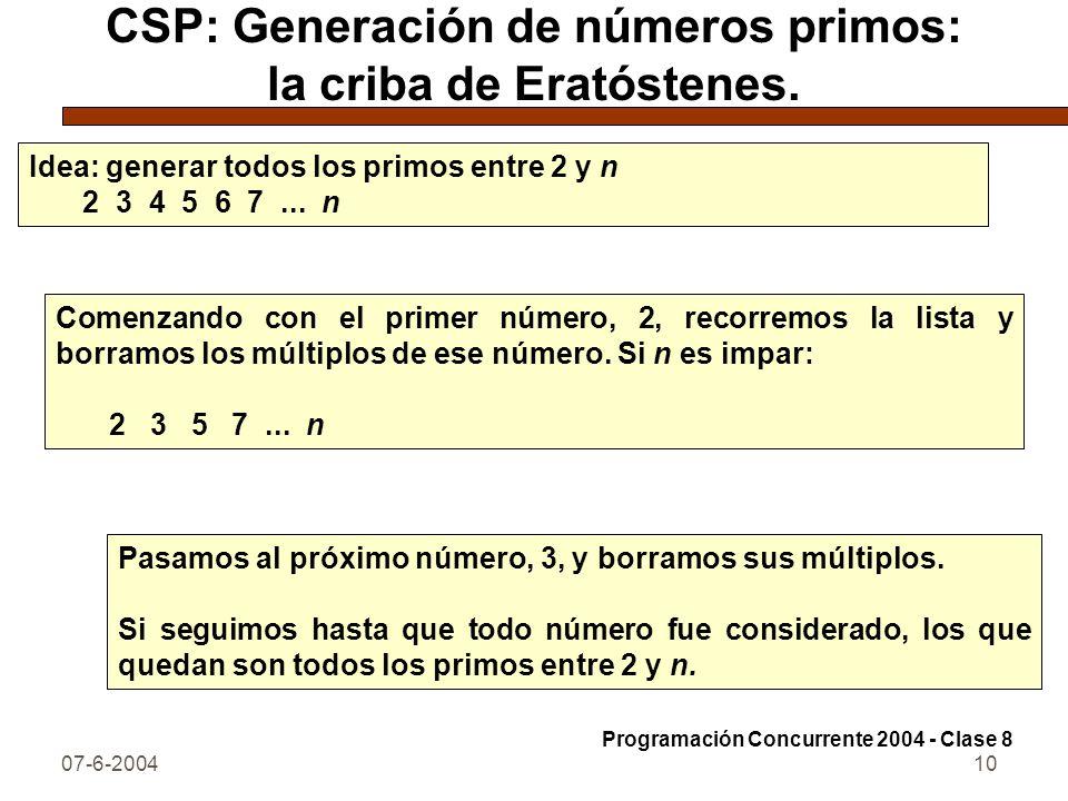 CSP: Generación de números primos: la criba de Eratóstenes.