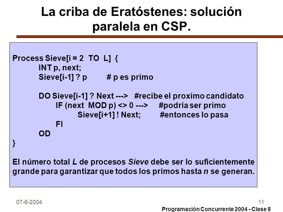 La criba de Eratóstenes: solución paralela en CSP.