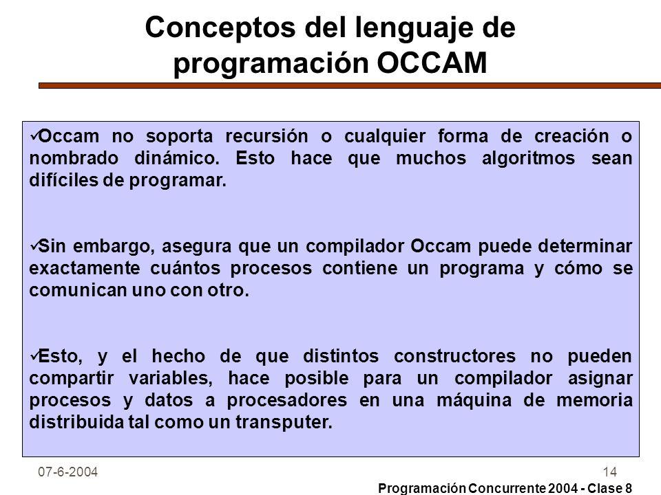 Conceptos del lenguaje de programación OCCAM