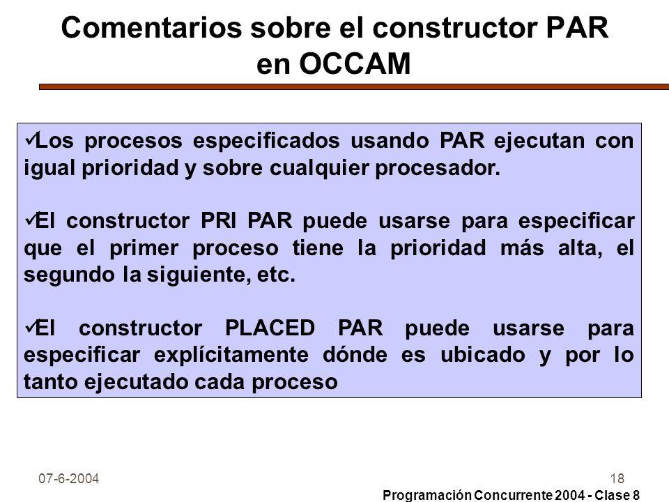 Comentarios sobre el constructor PAR en OCCAM