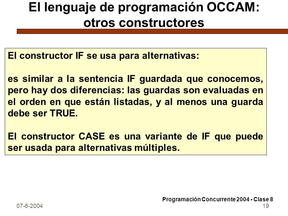 El lenguaje de programación OCCAM: otros constructores