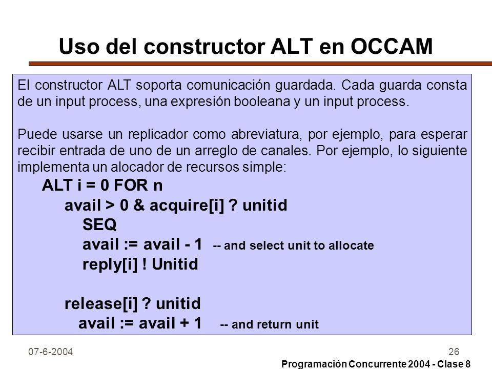Uso del constructor ALT en OCCAM