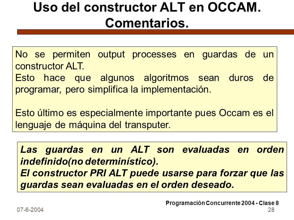 Uso del constructor ALT en OCCAM. Comentarios.