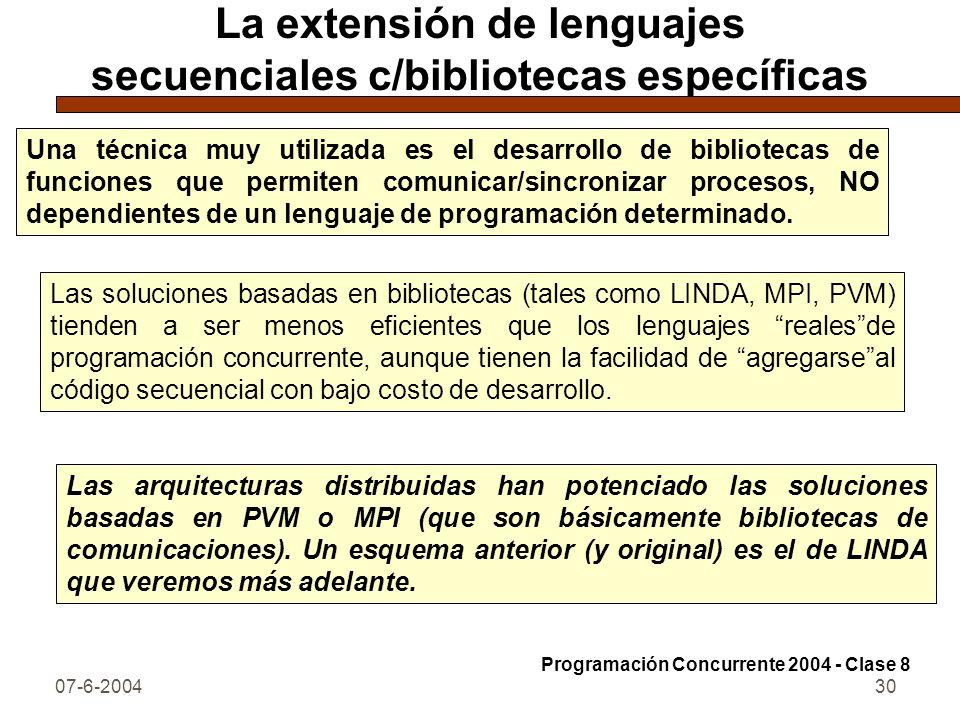 La extensión de lenguajes secuenciales c/bibliotecas específicas