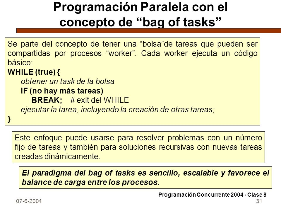 Programación Paralela con el concepto de bag of tasks