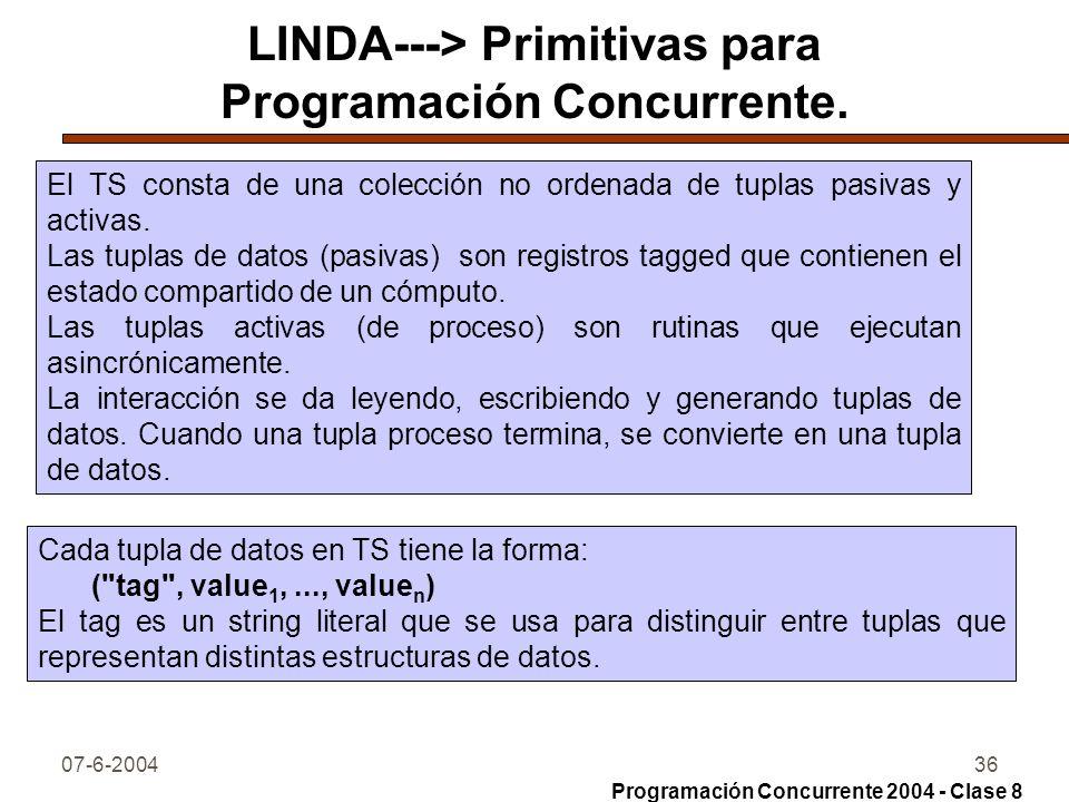 LINDA---> Primitivas para Programación Concurrente.