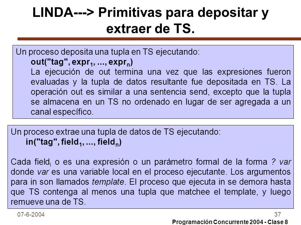 LINDA---> Primitivas para depositar y extraer de TS.