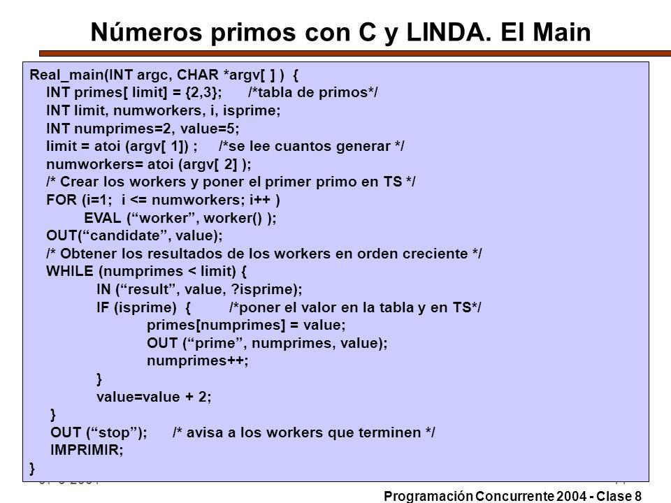 Números primos con C y LINDA. El Main
