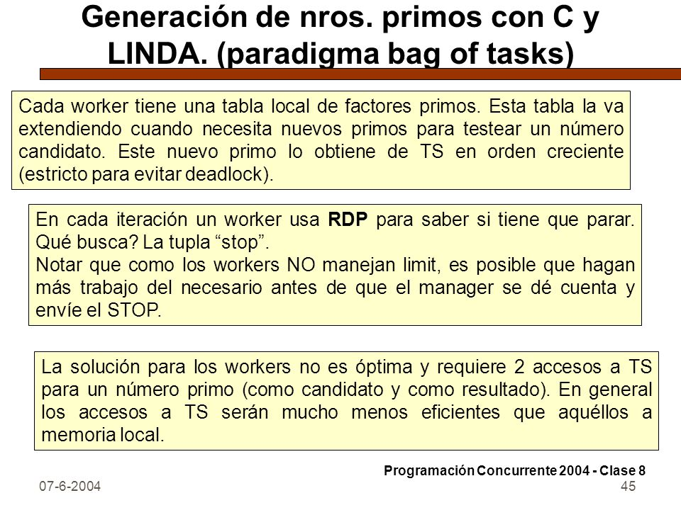 Generación de nros. primos con C y LINDA. (paradigma bag of tasks)