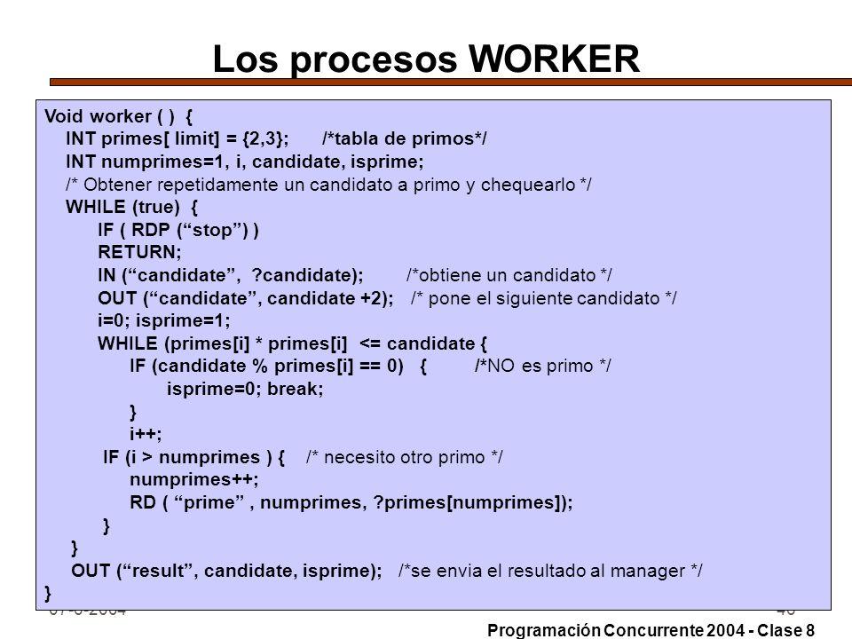 Los procesos WORKER Void worker ( ) {