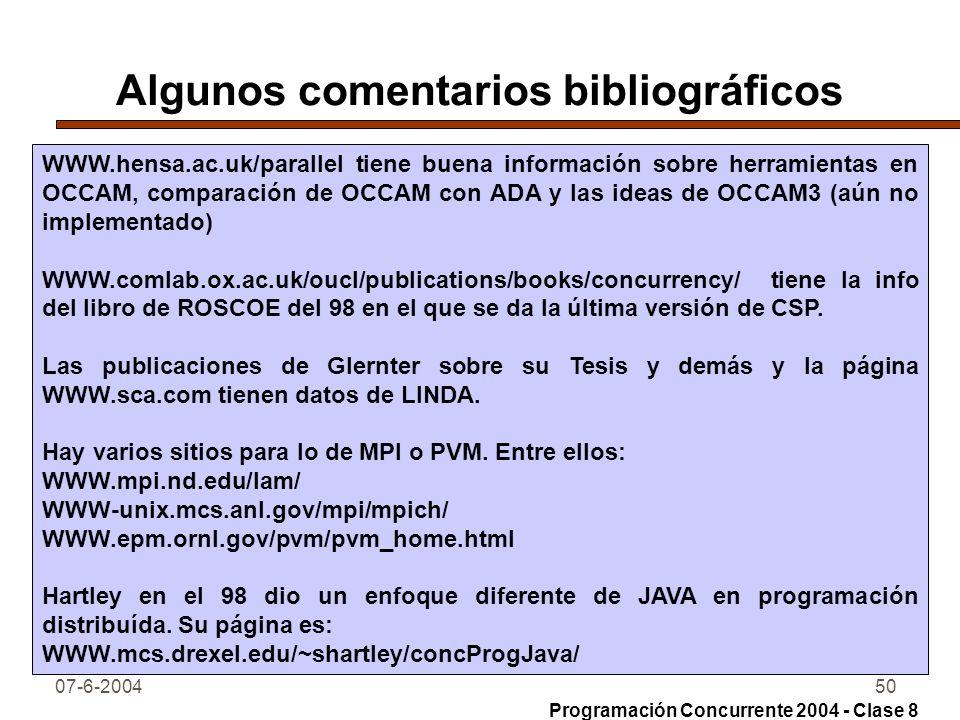 Algunos comentarios bibliográficos