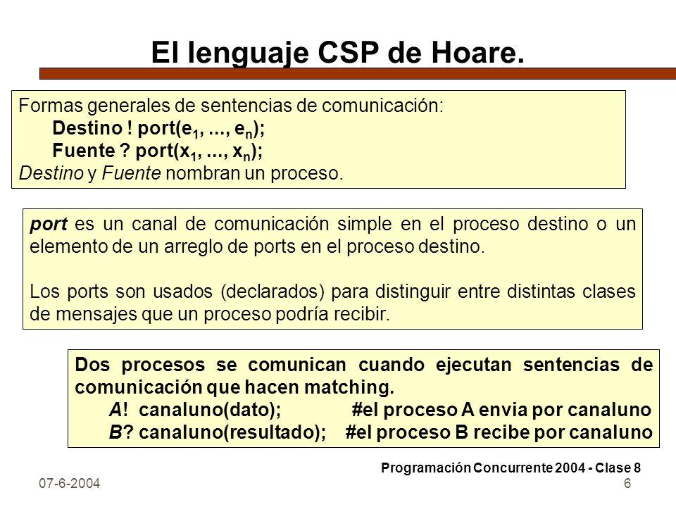 El lenguaje CSP de Hoare.